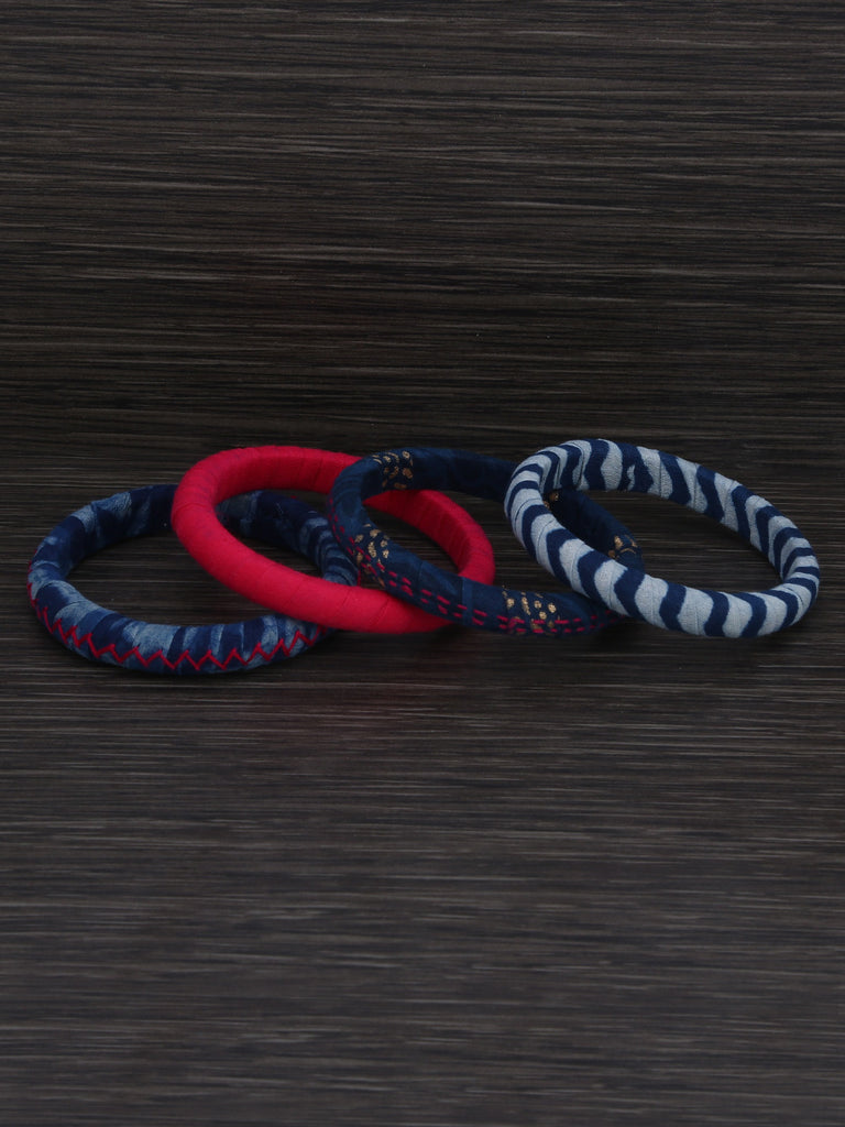 Pink Indigo Cotton Fabric Bangles - Set of 4