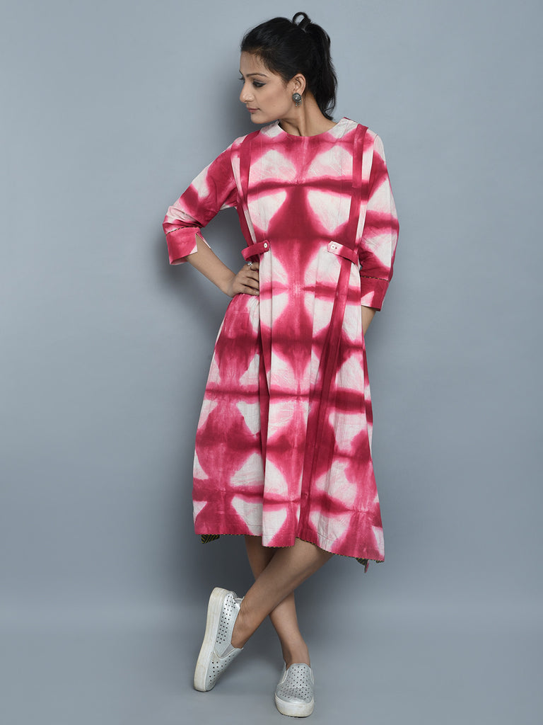 Pink Ivory Clamp Dyed Cotton Dress