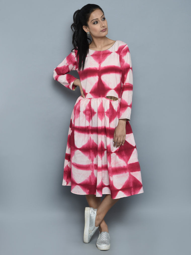 Pink Ivory Cotton Pleated Dress
