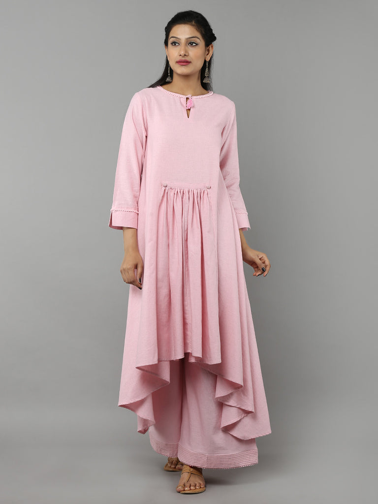 Pink Khadi Kurta with Palazzo - Set of 2