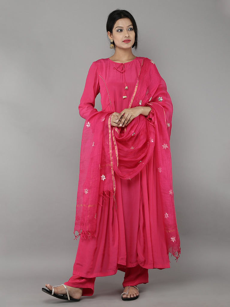 Pink Kota Silk Hand Embroidered Dupatta