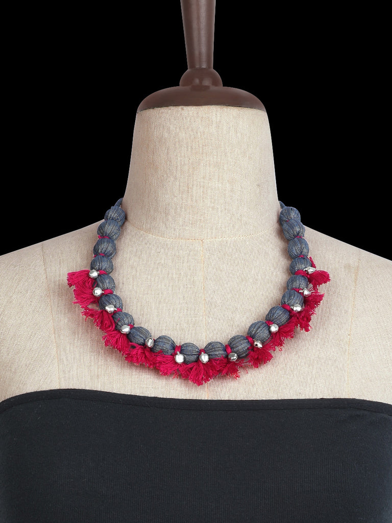 Magenta Grey Hand Crafted Thread Ghungroo Necklace