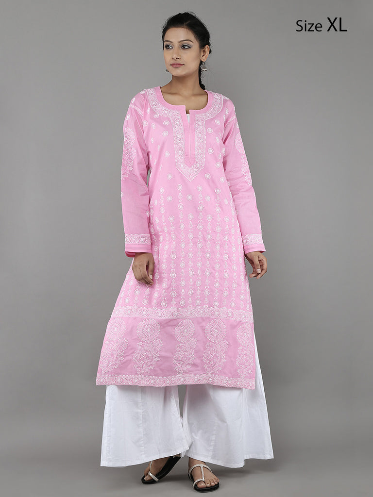 Pink Lucknowi Hand Embroidered Cotton Kurta