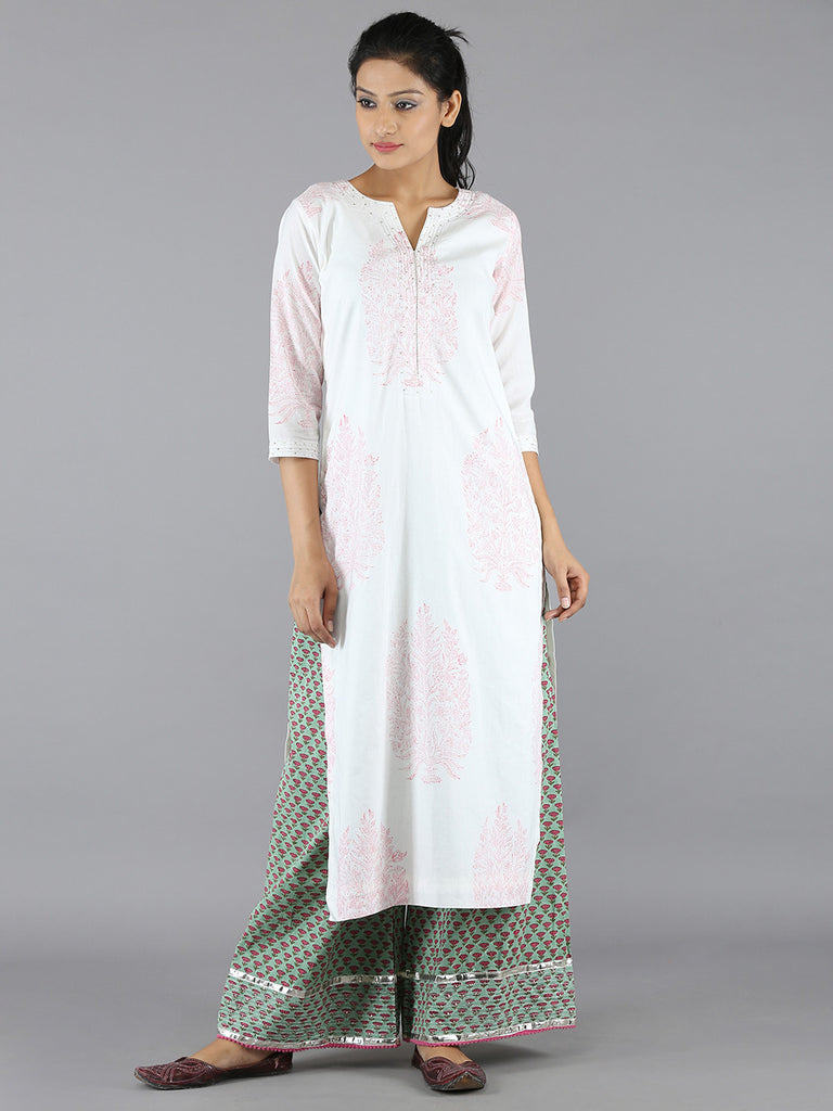Pink Cotton Kurta  With Green Palazzo - Set of 2