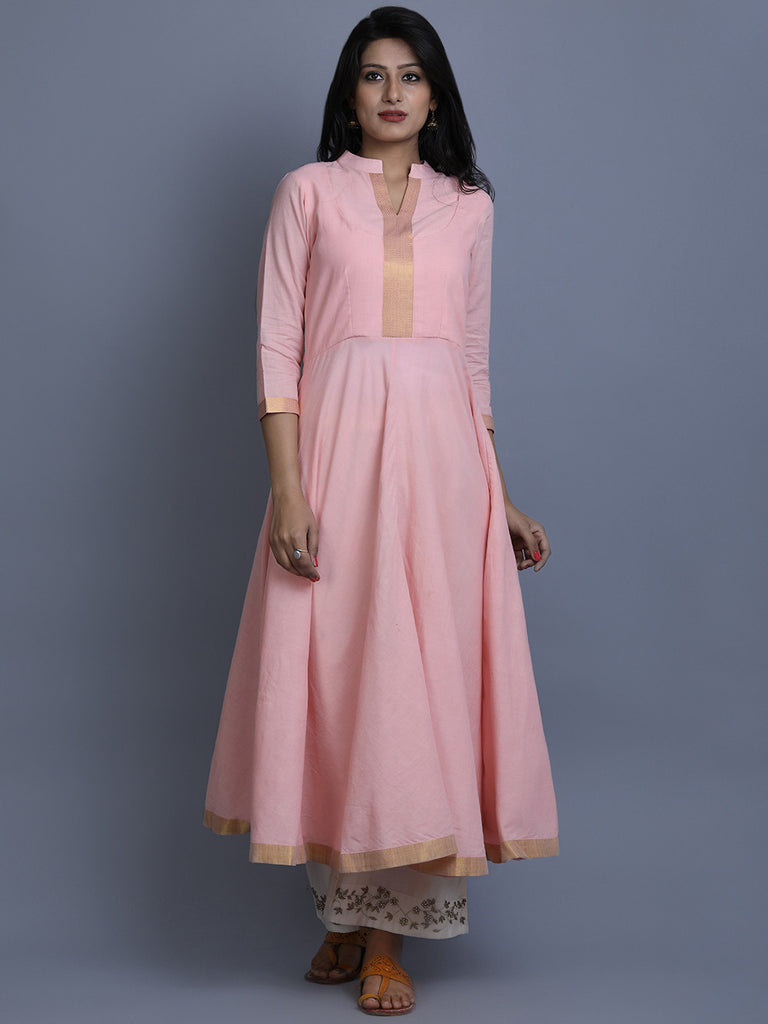 Pink Mangalgiri Cotton Anarkali