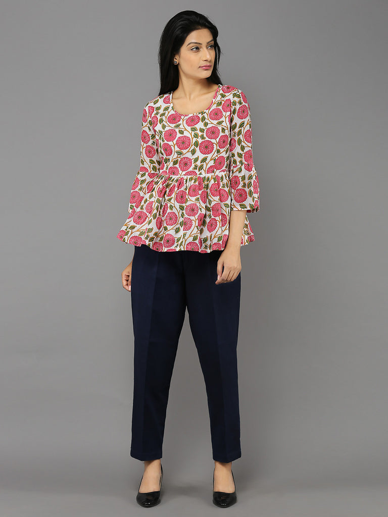Pink Marigold Printed Flurry Top