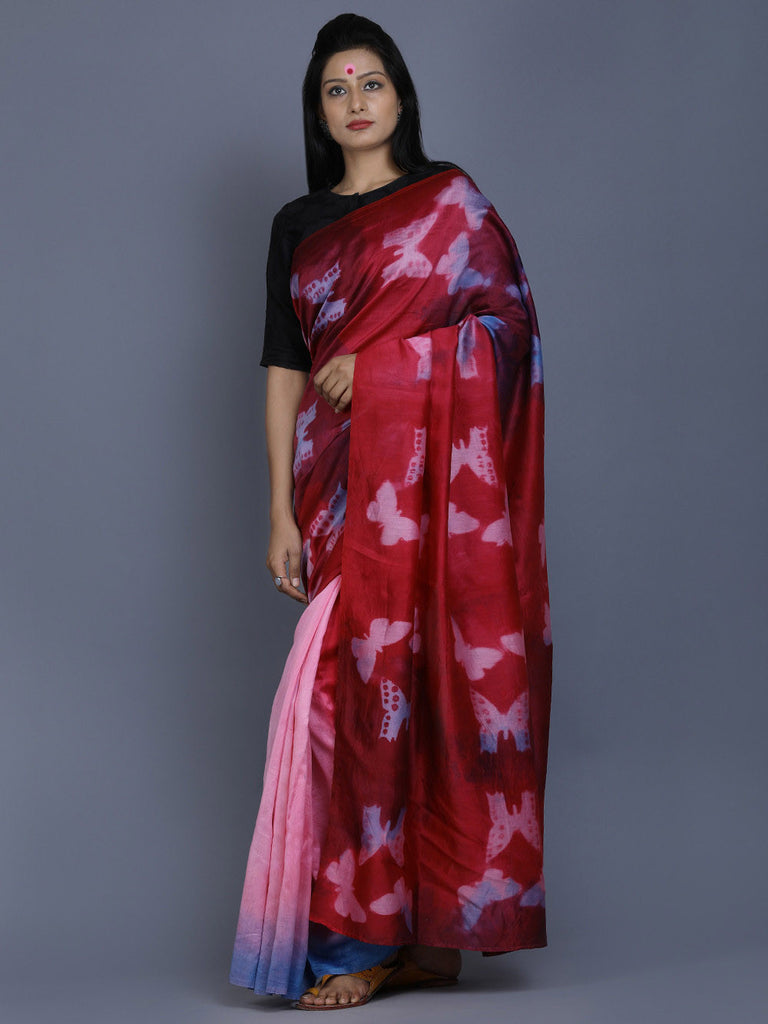 Pink Maroon Blue Clamp Dyed Chanderi Silk Butterfly Saree