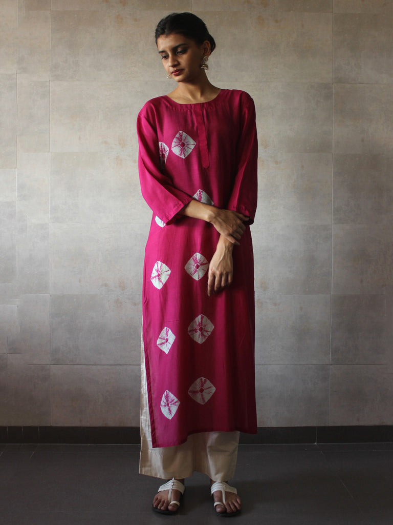 Pink Bandhej Cotton Silk Straight Tunic
