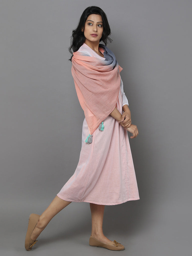 Pink Mul Cotton Dress with Stole - Set of 2
