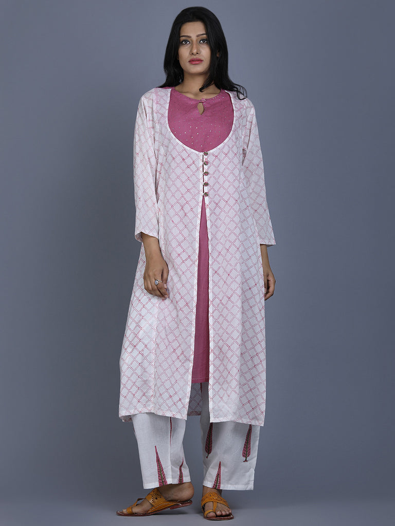 Pink Mul Cotton Jacket Kurta with Farsi Pants - Set of 2
