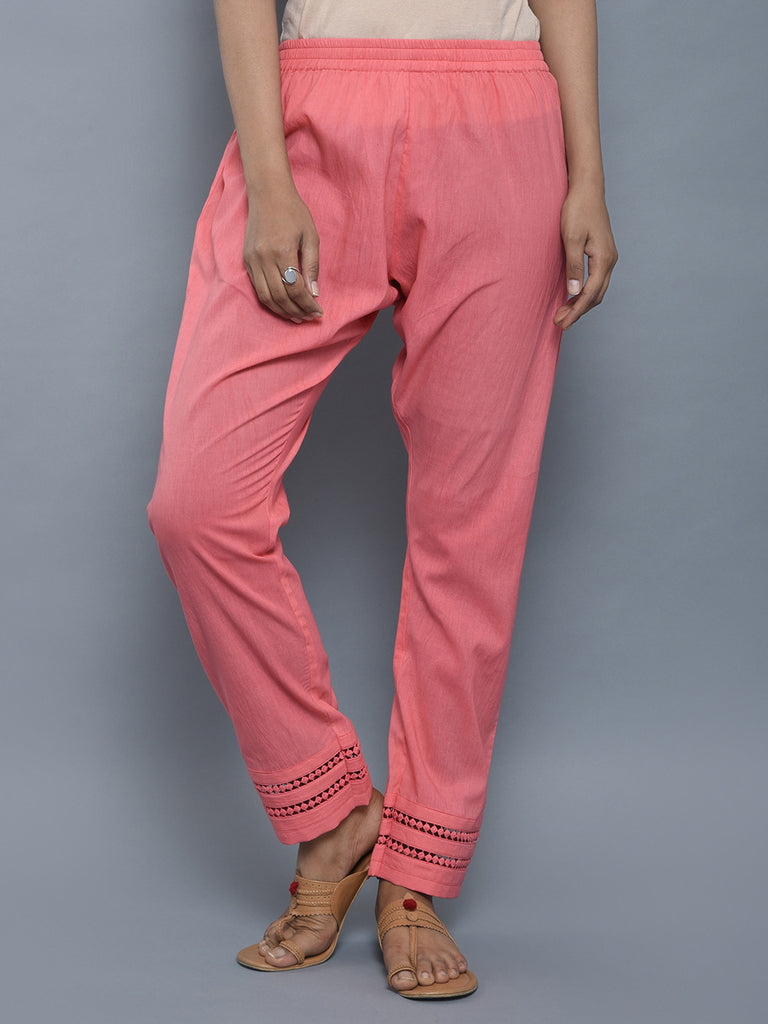 Pink Mulmul Cotton Pants