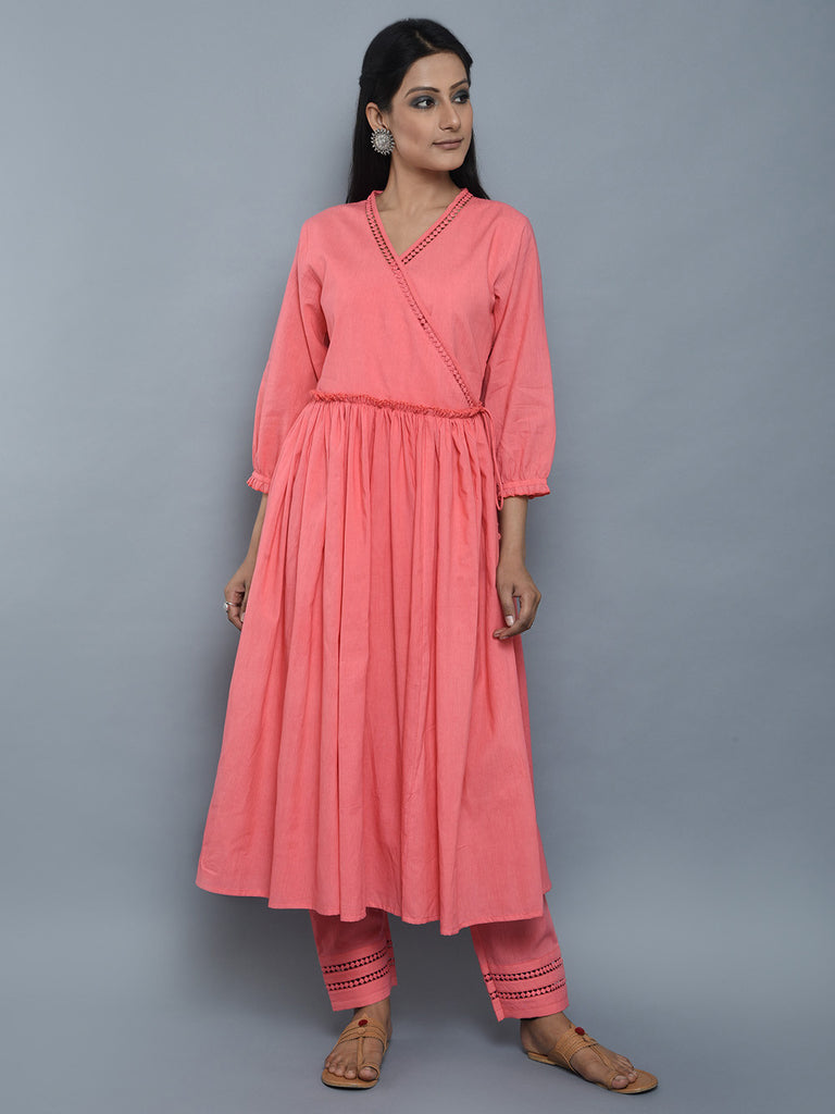 Pink Mulmul Cotton Angrakha Kurta and Pants - Set of 2