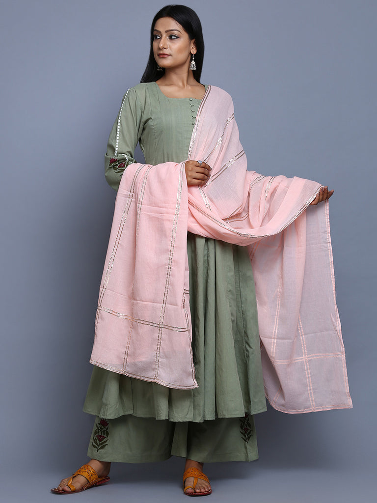 Pista Green Pink Cotton Mulmul Hand Block Printed Anarkali Suit  - Set of 3