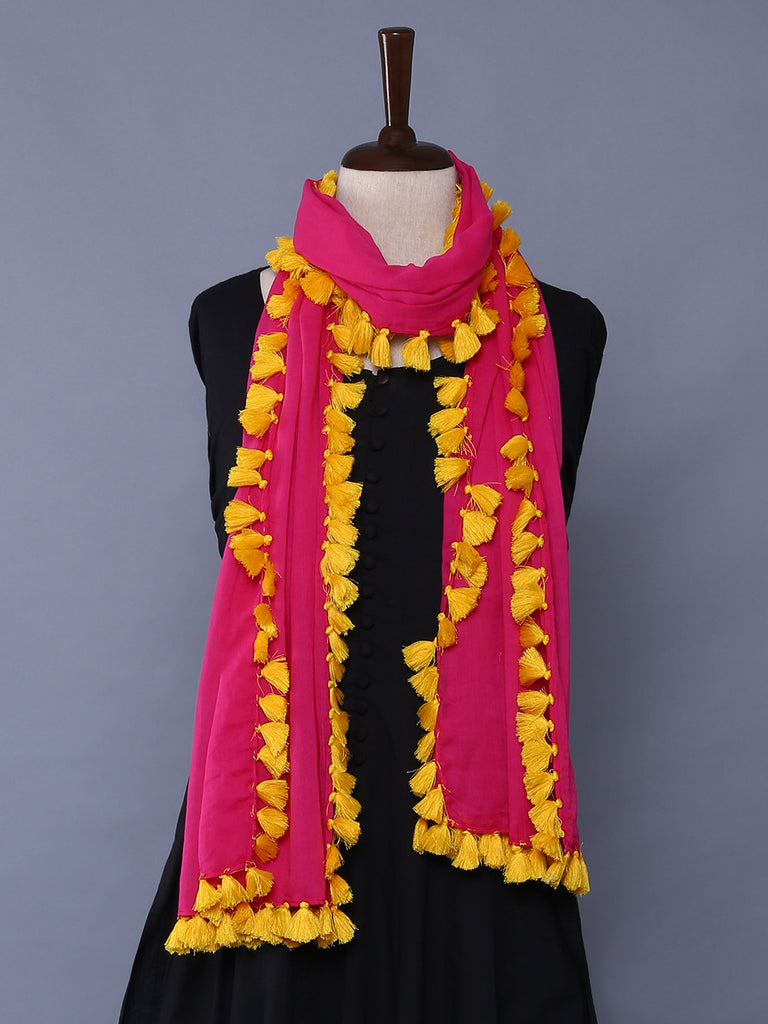 Pink Yellow Cotton Mulmul Tassel Stole