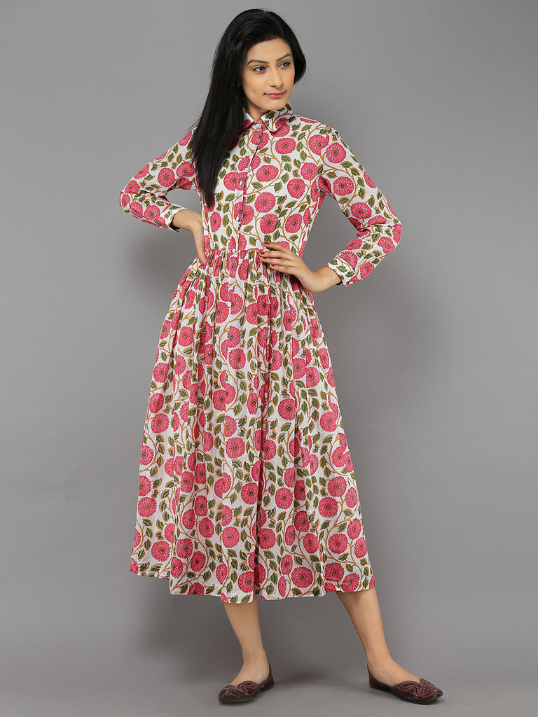 Pink Off White Marigold Printed Mulmul Maxi