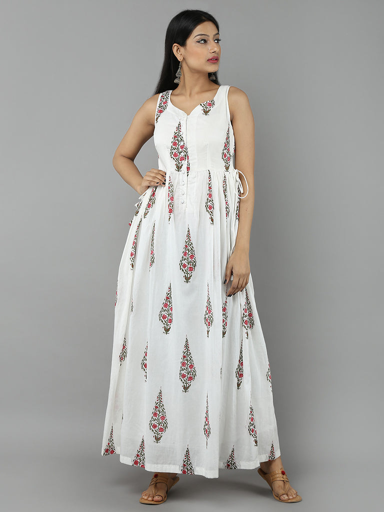 Pink Off White Mulmul Cotton Leaf Print Maxi