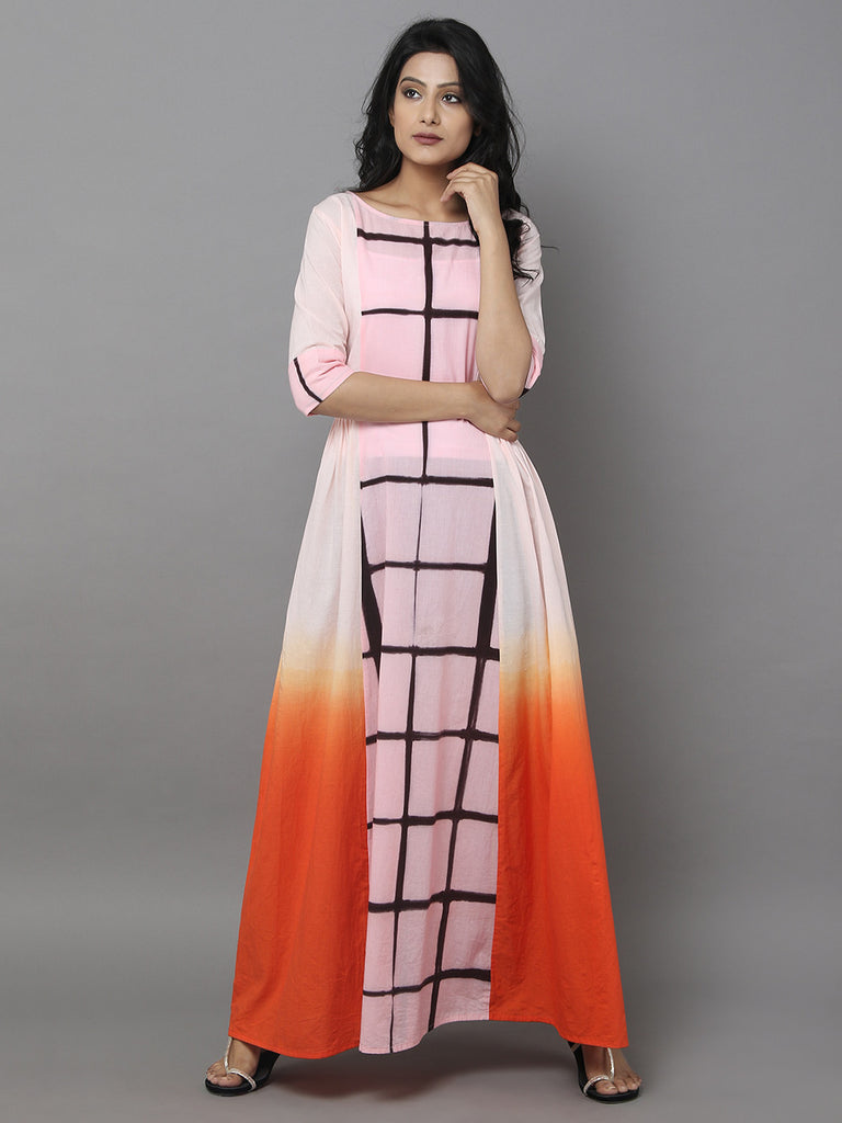 Pink Orange Cotton Dress
