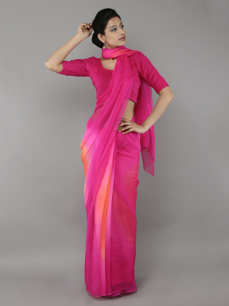 Pink Orange Georgette Saree