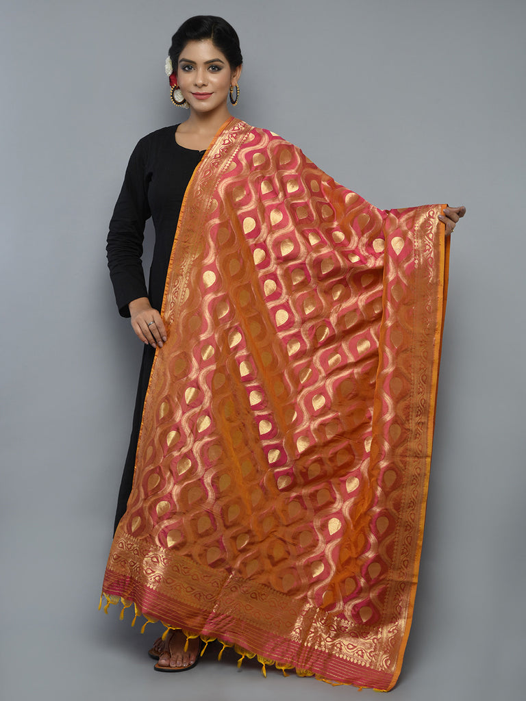 Pink Orange Handwoven Banarasi Dupatta
