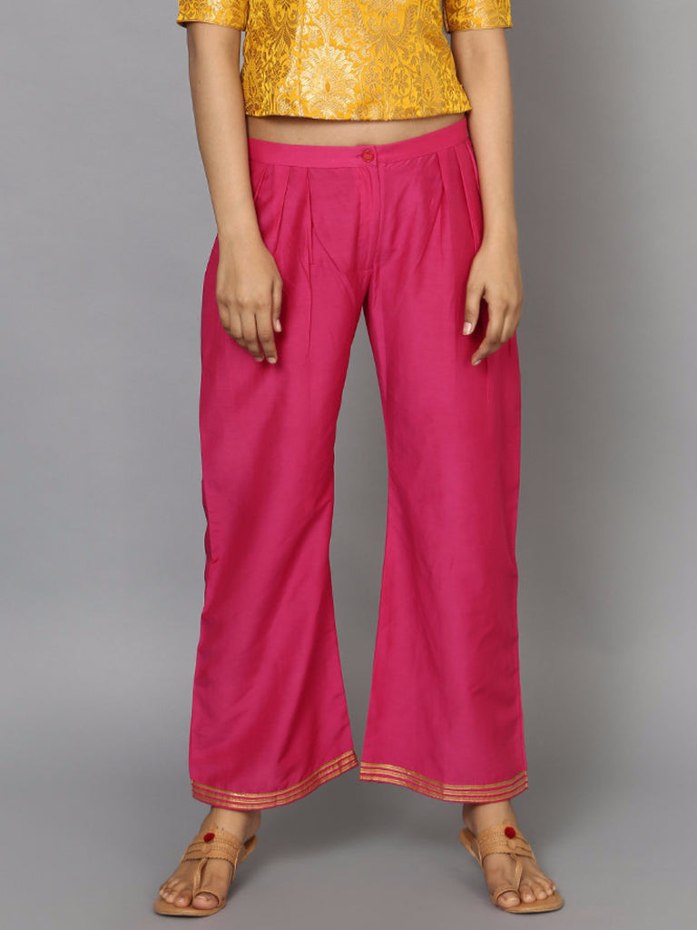 Pink Pleated Cotton Silk Palazzos