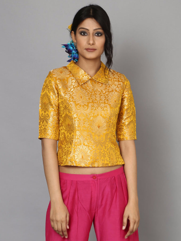 Yellow Ochre Brocade Crop Top