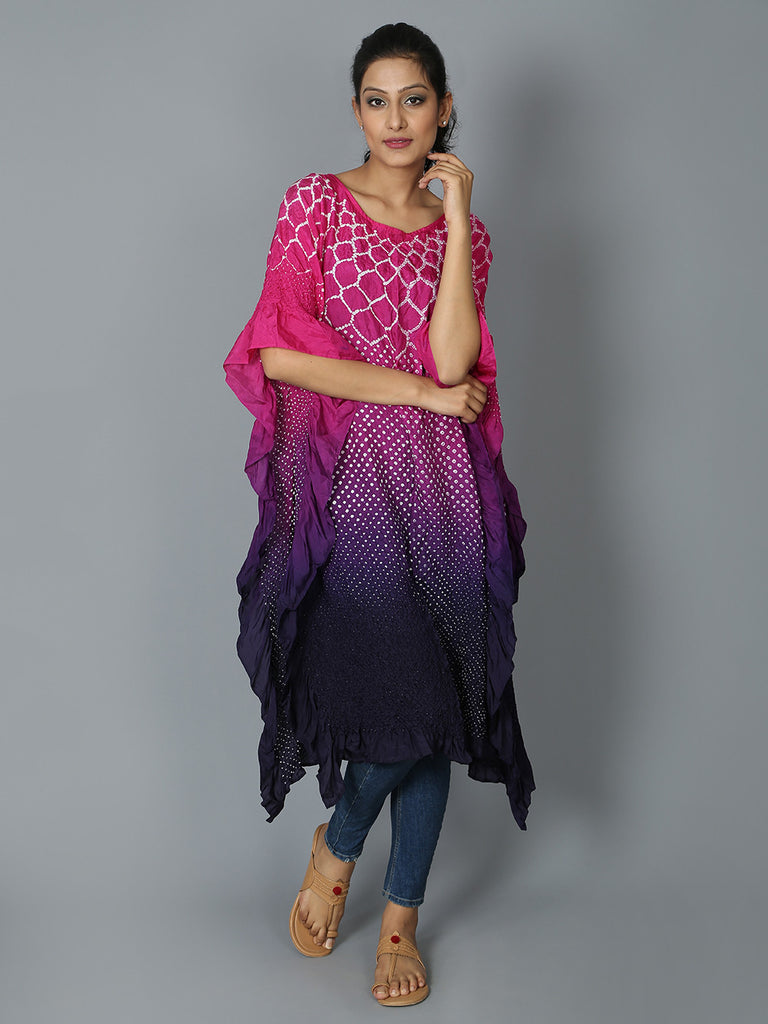 Pink Purple Silk Flower Kaftan