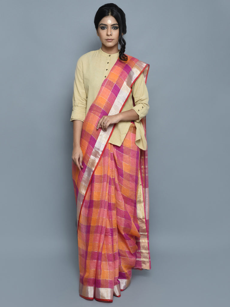 Pink Purple Yellow Handwoven Linen Saree