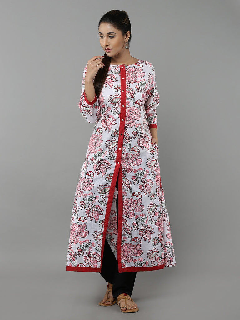 Pink Red Hand Block Printed Cotton Kurta