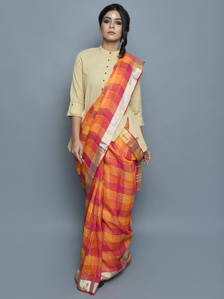 Pink Red Yellow Handwoven Linen Saree