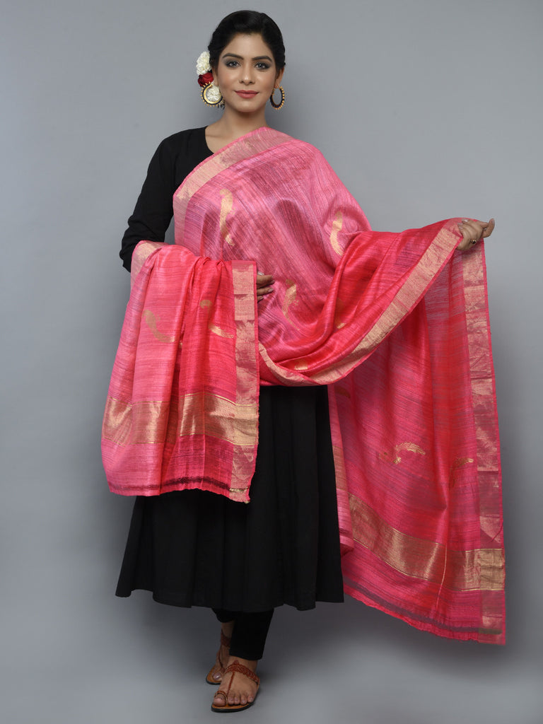 Pink Shaded Handwoven Banarasi Dupatta