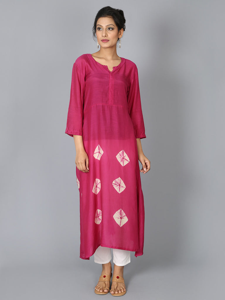 Pink Cotton Silk Bandhej Tunic