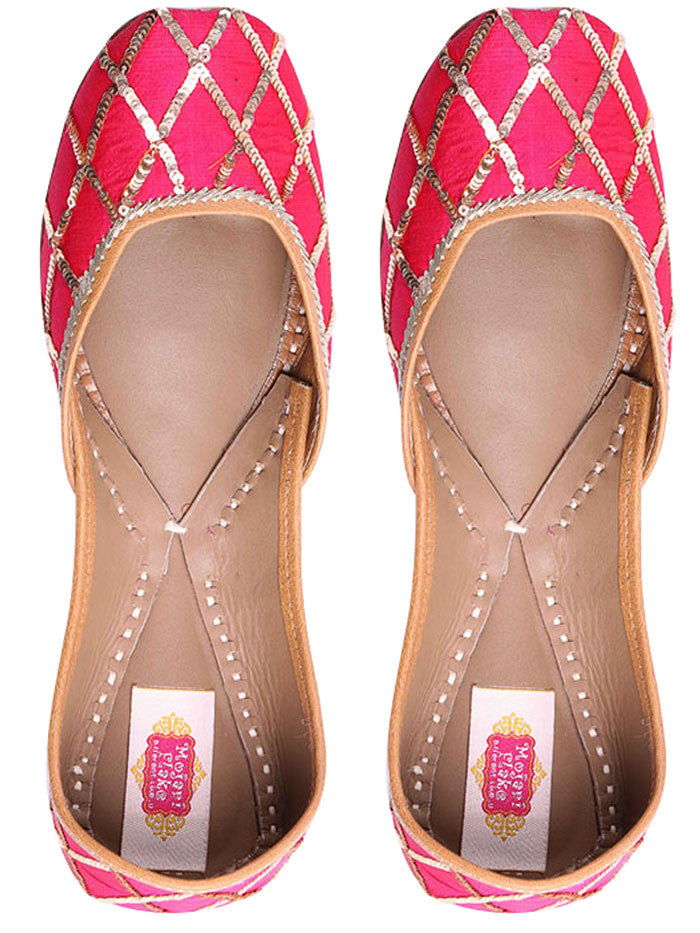 Pink Silk Base Leather Mojari