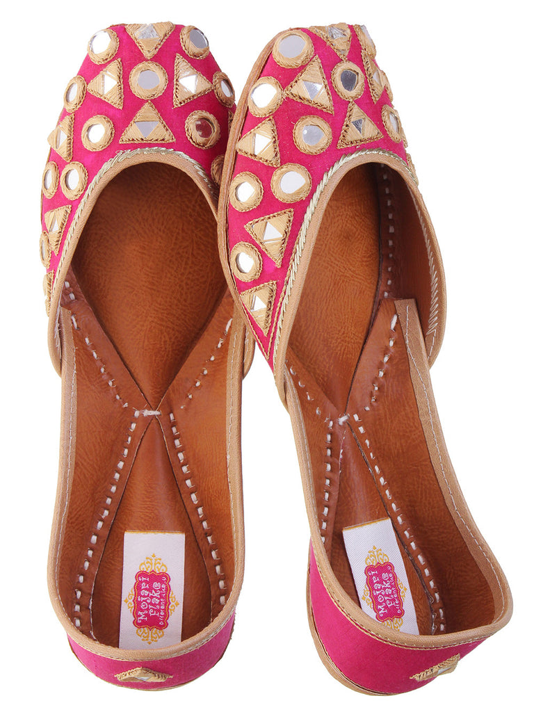 Pink Silk Base Mirror Leather Juttis