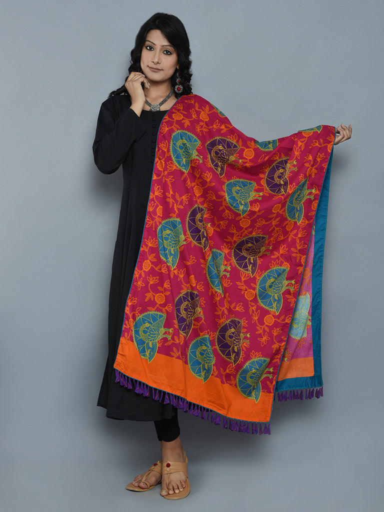 Pink Turquoise Peacock Pride Cotton Cambric Dupatta