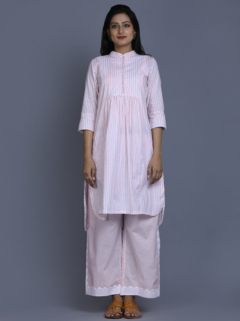 Pink Cotton Striped Kurta