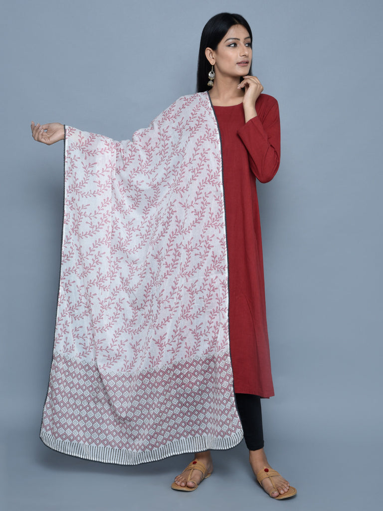 Pink White Grey Cotton Dupatta