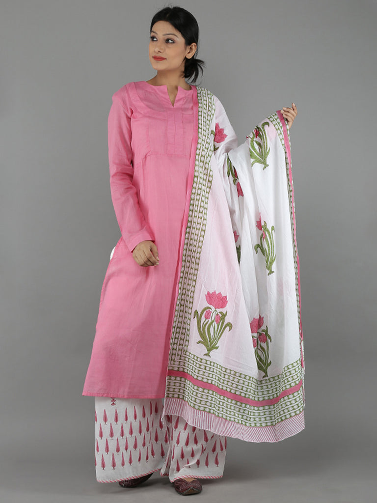 Pink White Mulmul Cotton Suit - Set of 3