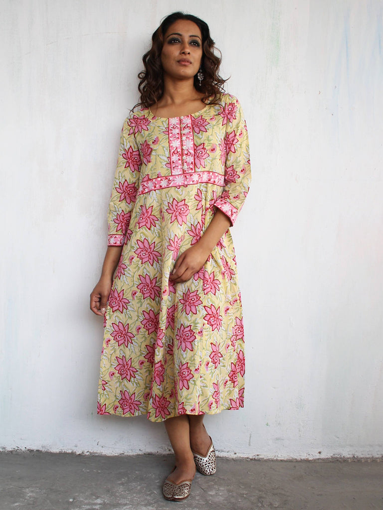Pink Yellow Cotton Hand Block Printed Floral Dress