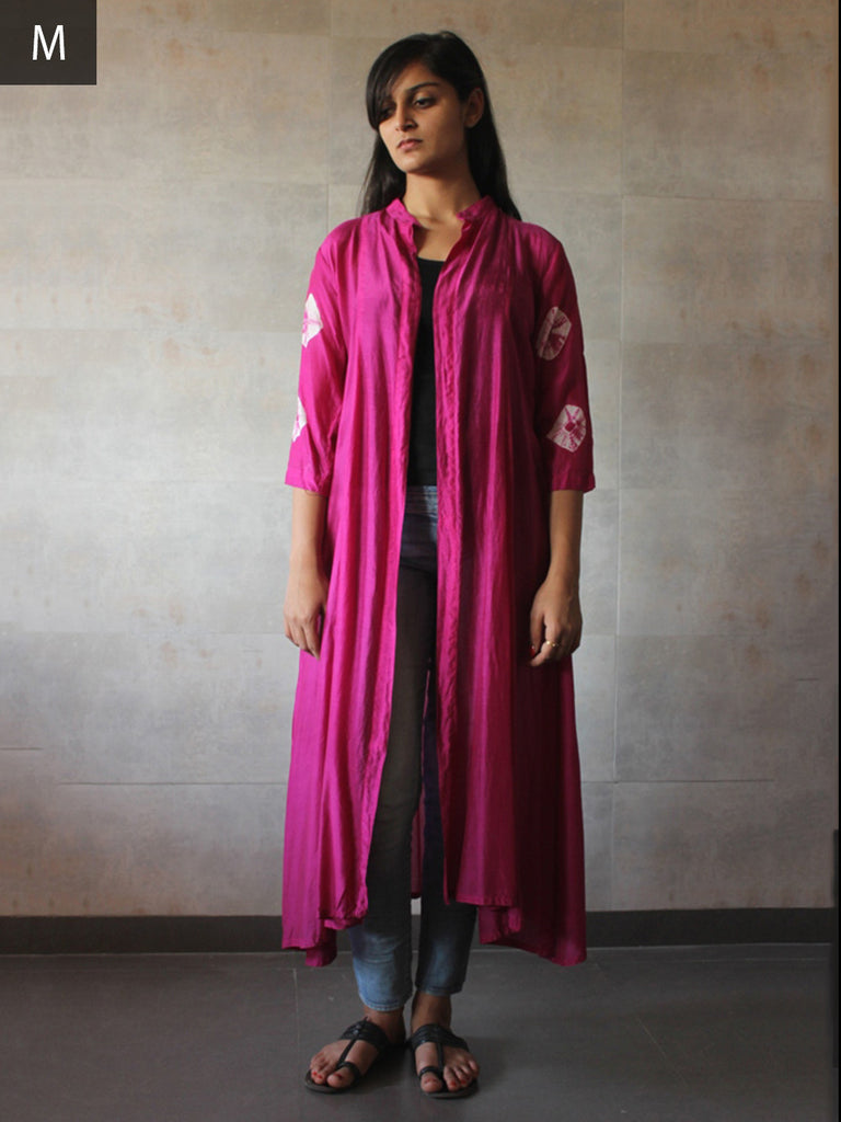 Pink Cotton Silk Bandhej Cape