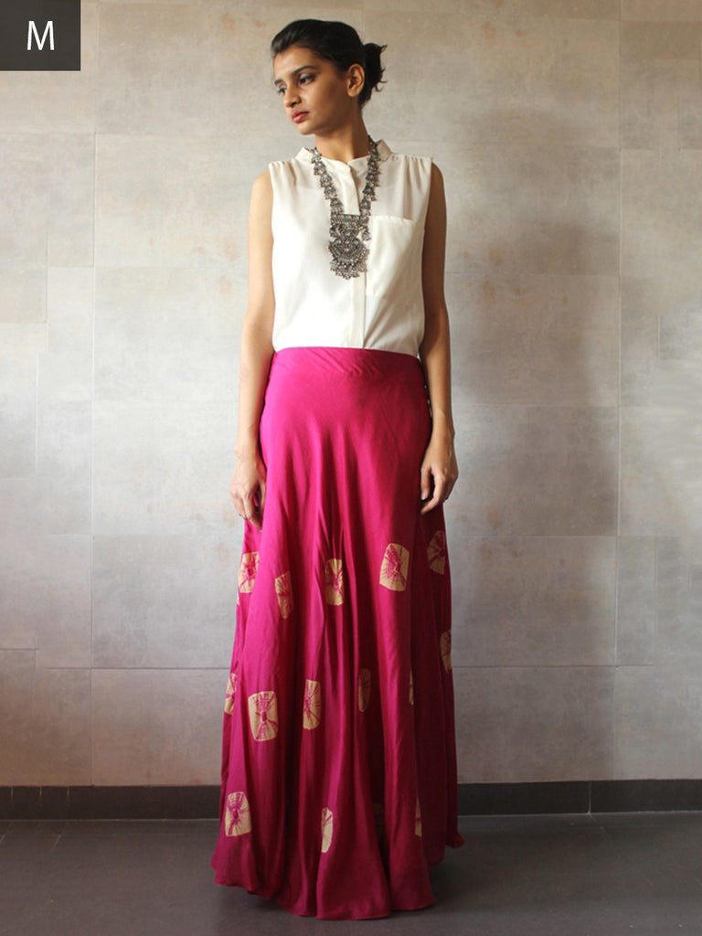 Pink Cotton Silk Bandhej Skirt