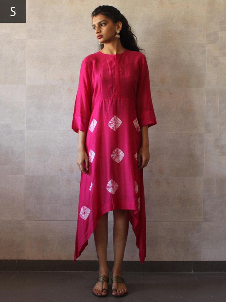 Pink Cotton Mul Asymmetric Bandhej Tunic