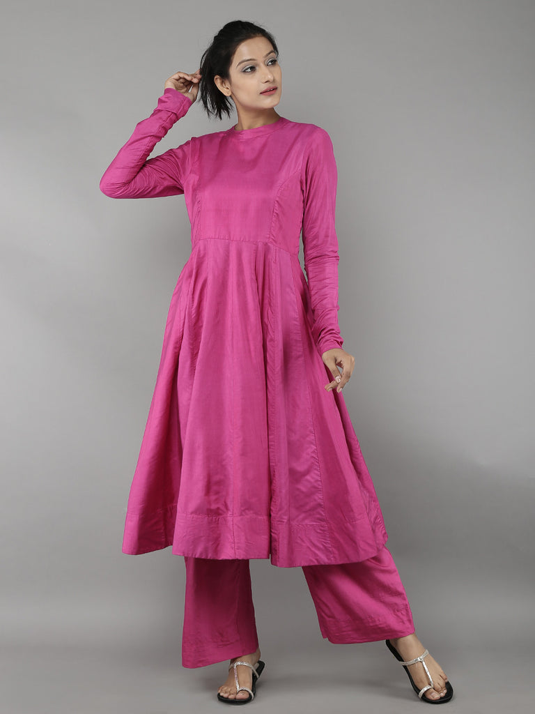 Pink Cotton Silk Anarkali with Palazzo- Set of 2