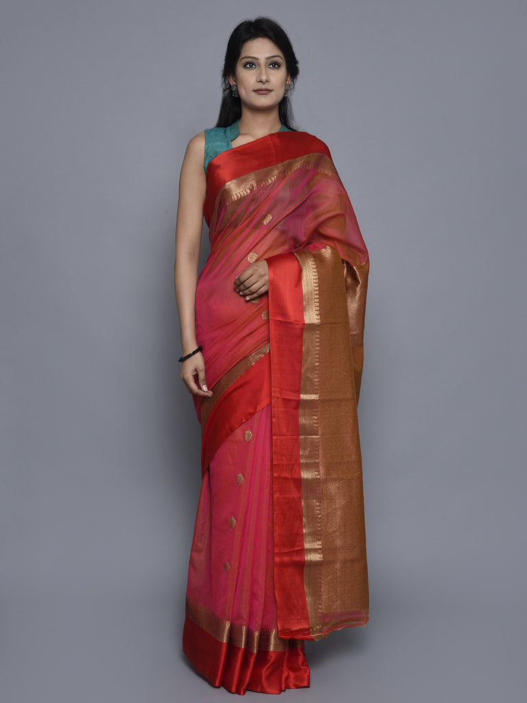 Pink Hand Woven Banarasi Cotton Silk Saree