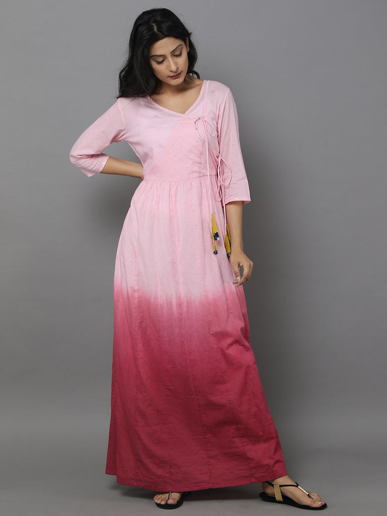 Pink Ombre Cotton Anarkali Dress