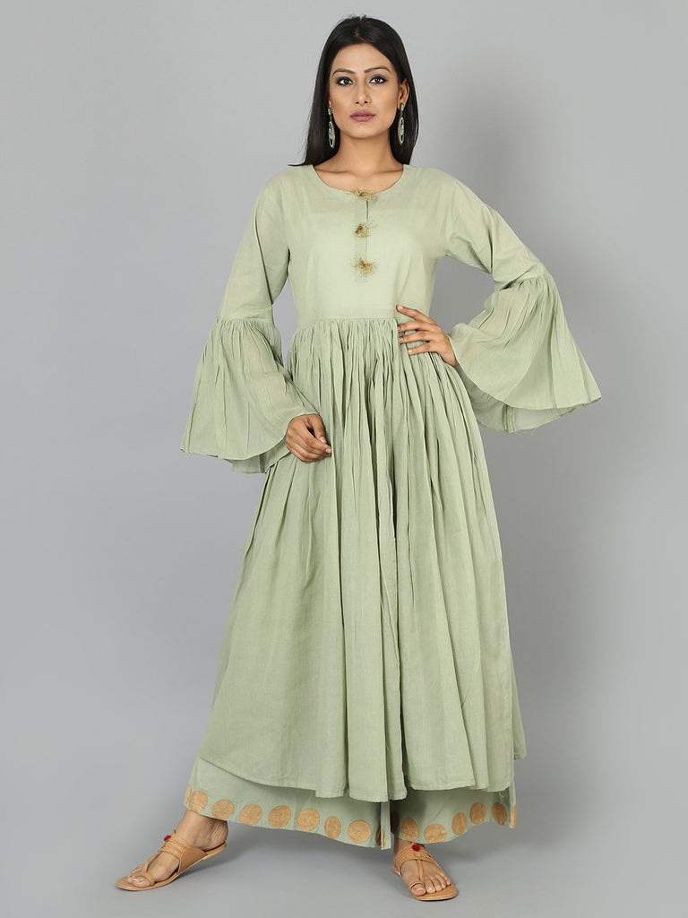 Pista Green Cotton Anarkali Kurta