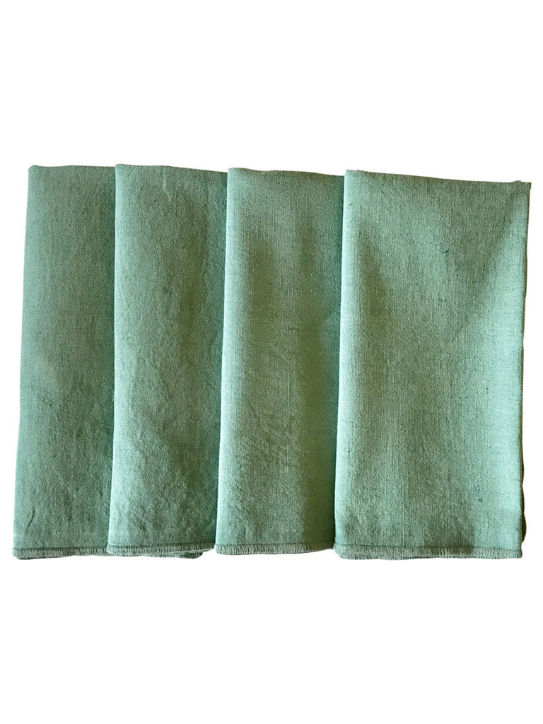Pista Green Cotton Linen Fabric Napkins - Set of 4