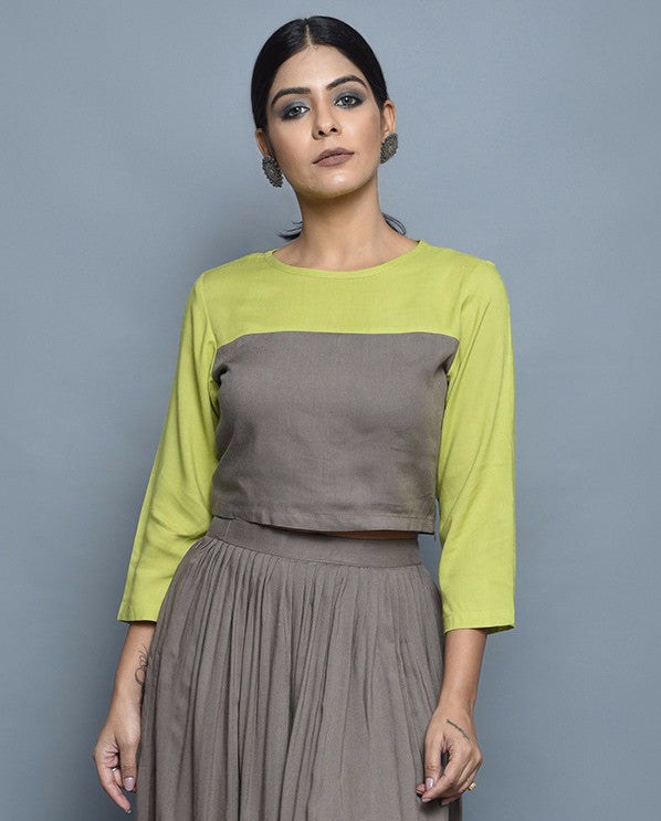 Pista Green Grey Rayon Crop Top