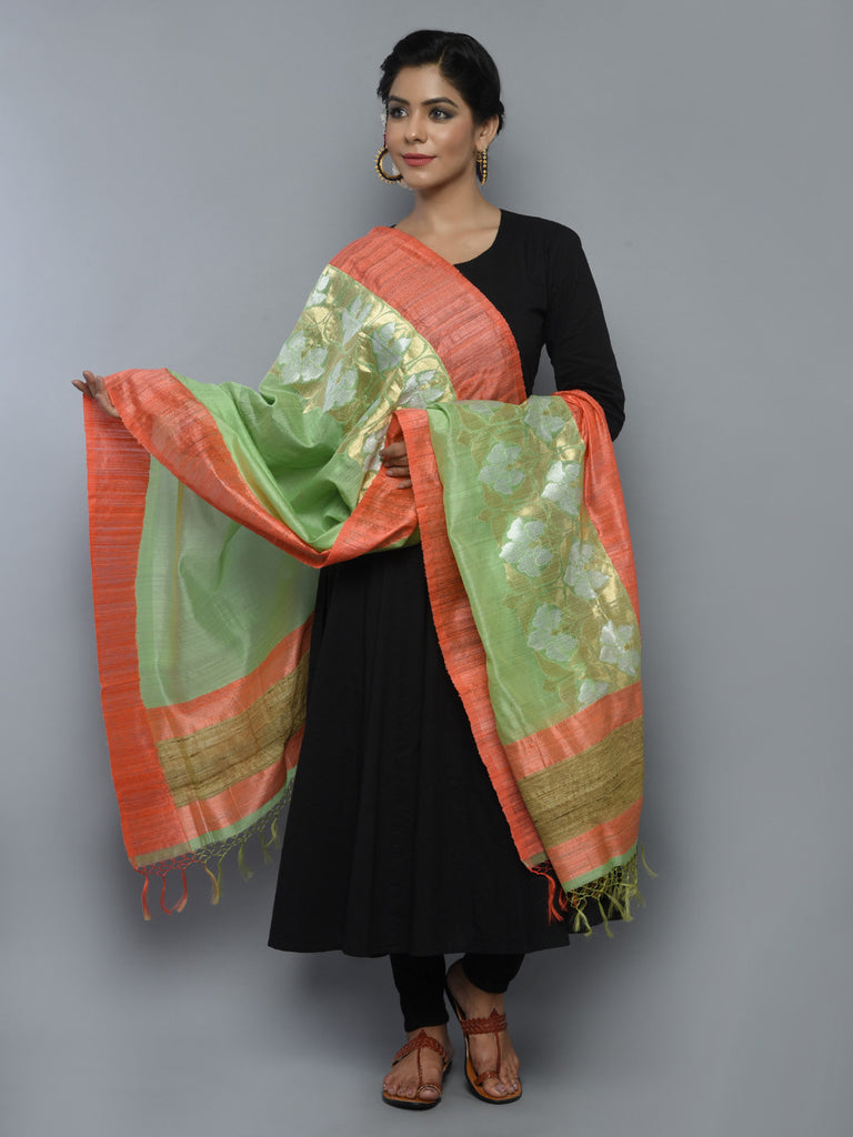 Pista Green Peach Kora Cotton Handwoven Banarasi Dupatta