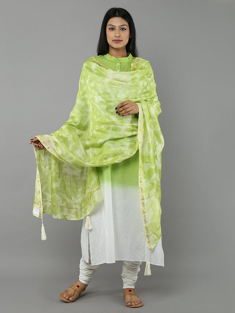 Pista Green Tie and Dye Chenderi Dupatta