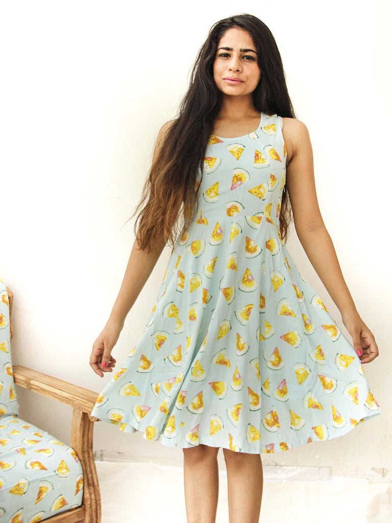 Powder Blue Printed Rayon Cotton Midi Skater Dress